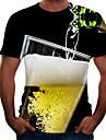 Herr T-shirt Skjorta Färgblock 3D Öl Plusstorlekar Kortärmad Utekväll Blast Grundläggande Rund hals Gul