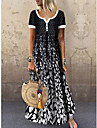 Women\'s Swing Dress Maxi long Dress Black Short Sleeve Black & White Polka Dot Leaf Button Print Summer Round Neck Hot Casual Holiday 2021 M L XL XXL 3XL / High Waist