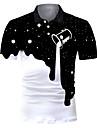 男性用 ゴルフシャツ テニスシャツ グラフィック 抽象的 3D プリント 半袖 クラブ トップの ロック 誇張された シャツカラー ホワイト