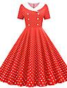 Women\'s Sheath Dress Knee Length Dress Blushing Pink Red Navy Blue Light Blue Short Sleeve Polka Dot Print Spring Summer V Neck Vintage Party 2021 S M L XL XXL