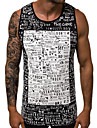 Men\'s Tank Top Graphic Solid Colored Basic Sleeveless Slim Tops Active Round Neck Black Khaki Gray / Sports / Summer