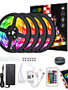 LED Strip Lights Dimmable App Control Waterproof 20M(4x5M) RGB Tiktok Lights Intelligent Dimming Flexible 5050 SMD 600 LEDs IR 24 Key Controller with Installation Package 12V 8A Adapter Kit
