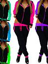 女性用 2個 フルジップ トラックスーツ スウェットスーツ ジョギングスーツ ストリート カジュアル 長袖 吸汗性 速乾性 高通気性 ランニング アクティブトレーニング ジョギング スポーツウェア 緑 / ブラック 蛍光グリーン パープル イエロー フクシャ ブルー アクティブウェア マイクロエラスティック / アスレイジャー