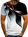 Miesten T-paita Paita 3D-tulostus Kuvitettu Geometrinen 3D Pluskoko Painettu Lyhythihainen Pyhäpäivä Topit Katutyyli Liioiteltu Pyöreä kaula-aukko Uima-allas Purppura Keltainen