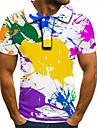 男性用 ゴルフシャツ テニスシャツ グラフィック 3D プラスサイズ 半袖 日常 トップの ストリートファッション 誇張された シャツカラー レインボー