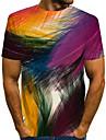 Men\'s Plus Size T-shirt Geometric 3D Print Short Sleeve Tops Streetwear Exaggerated Round Neck Rainbow