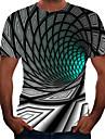 Men\'s Tee T shirt Shirt 3D Print Graphic Optical Illusion Plus Size Short Sleeve Athletic Tops Basic Elegant Green