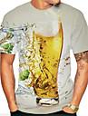 Herr T-shirt Skjorta Grafisk Öl Tryck Kortärmad Dagligen Blast Grundläggande Rund hals Vit