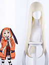 Kakegurui Cosplay-peruker Dam Rak lugg 35 tum Värmebeständigt Fiber Kinky Rakt Vit Vuxna Anime peruk