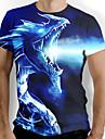 Men\'s T shirt Shirt Graphic Animal Short Sleeve Daily Tops Basic Elegant Round Neck Blue