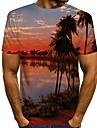 Men\'s T shirt Shirt Graphic Scenery Short Sleeve Daily Tops Round Neck White Purple Yellow