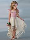 Kids Little Girls\' Dress Color Block Tassel Pleated Asymmetric Blushing Pink Vacation Boho Dresses Summer