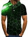 男性用 ゴルフシャツ テニスシャツ グラフィック 3D印刷 プリント 半袖 日常 スリム トップの グリーン