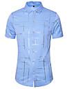 Hombre Camisa A Rayas Tallas Grandes Estampado Manga Corta Diario Tops Basico Cuello Americano Blanco Negro Azul claro / Trabajo