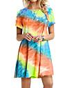 Women\'s A Line Dress Short Mini Dress Blue Purple Fuchsia Orange Light Blue Short Sleeve Tie Dye Summer Round Neck Casual Loose 2021 S M L XL XXL 3XL