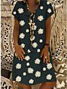 Women\'s Shift Dress Knee Length Dress Yellow Khaki Green Black Short Sleeve Daisy Floral Print Summer V Neck Hot Casual 2021 S M L XL XXL 3XL 4XL / Plus Size / Plus Size / Loose