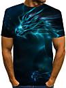 Miesten T-paita Paita Kuvitettu 3D Print Pluskoko Painettu Lyhythihainen Päivittäin Topit Perus Liioiteltu Pyöreä kaula-aukko Uima-allas Purppura Rubiini