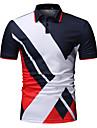 رجالي قميص الجولف قميص تنس ألوان متناوبة طباعة كم قصير عمل قمم الأعمال التجارية أبيض أسود أزرق البحرية