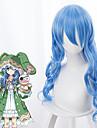 Datum A Live Yoshino Cosplay-peruker Dam Asymmetrisk frisyr 33 tum Värmebeständigt Fiber Lockigt Blå Vuxna Anime peruk