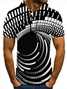 男性用 ゴルフシャツ テニスシャツ グラフィック 3D印刷 プリント 半袖 日常 スリム トップの ブラック