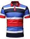 رجالي قميص الجولف قميص تنس مخطط طباعة كم قصير عمل قمم الأعمال التجارية أزرق أحمر