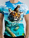 Hombre Tee Camiseta Camisa Impresion 3D Grafico Tigre Animal Manga Corta Casual Tops Basico Azul Piscina Azul Marino Verde Trebol