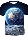 Homens Camiseta Camisa Social Galaxia Grafico 3D Estampado Manga Curta Diario Blusas Moda de Rua Exagerado Decote Redondo Azul Laranja Vermelho
