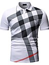Bărbați Cămașă de golf Cămașă de tenis Bloc Culoare Imprimeu Manșon scurt Muncă Topuri Afacere Alb Negru Bleumarin