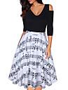 Women\'s A Line Dress Knee Length Dress Black Half Sleeve Geometric Summer V Neck Casual 2021 S M L XL XXL 3XL 4XL