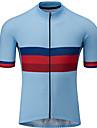 21Grams 男性用 半袖 サイクリングジャージー 赤 + 青 バイク ジャージー トップス マウンテンサイクリング ロードバイク UV耐性 高通気性 速乾性 スポーツ 衣類 / 伸縮性あり