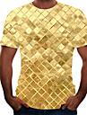 בגדי ריקוד גברים חולצה קצרה חולצה קולור בלוק 3D חיה מידות גדולות שרוולים קצרים ליציאה צמרות בסיסי צווארון עגול קשת