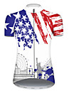 21Grams Women\'s Short Sleeve Cycling Jersey Nylon Polyester Blue / White American / USA Statue Of Liberty National Flag Bike Jersey Top Mountain Bike MTB Road Bike Cycling Breathable Quick Dry