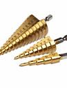 Pagoda metal bit 4-12mm 4-20mm 4-32mm Step Cone Drill Bit Hole Cutter Dint Tool Hex Shank Step Drills shank Coated Metal Drill Bit 3pcs