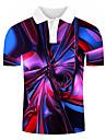 Herren Golfhemd Tennishemd Grafik 3D-Druck Druck Kurzarm Alltag Oberteile Street Schick UEbertrieben Regenbogen