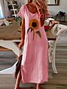 여성용 시프트 드레스 미디 드레스 푸른 옐로우 블러슁 핑크 화이트 블랙 짧은 소매 플로럴 여름 라운드 넥 작업 / 오피스 2021 S M L XL XXL 3XL 4XL 5XL
