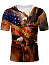 Men\'s T shirt Shirt Graphic National Flag Print Short Sleeve Daily Tops Round Neck Brown