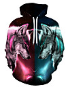 Men\'s Hoodie Wolf 3D / Graphic / Character Statement / Animals Rainbow US32 / UK32 / EU40 US34 / UK34 / EU42 US36 / UK36 / EU44 US38 / UK38 / EU46 US40 / UK40 / EU48 US42 / UK42 / EU50 US44 / UK44