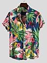 Men\'s Shirt Floral Graphic Print Short Sleeve Causal Tops Vacation Streetwear Hawaiian Beach Button Down Collar Light Green