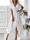 Women's Wrap Dress Midi Dress White Dark Blue Sleeveless Solid Color Ruffle Multi Layer Plus High Low Summer Deep V Hot Elegant Sexy Party Beach 2021 S M L XL XXL 3XL 4XL 5XL / Clothing / Chiffon