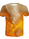 Men\'s T shirt Graphic 3D Beer Plus Size Print Short Sleeve Party Tops Yellow