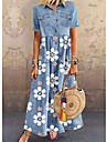 Women\'s Denim Shirt Dress Maxi long Dress Blue Short Sleeve Floral Pocket Button Summer Shirt Collar Chic & Modern Casual 2021 M L XL XXL 3XL