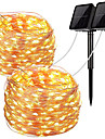Solar Outdoor String Lights 12M x 2 Pieces Set Outdoor Wedding Waterproof LED String Lights 100 LEDs Fairy Lights Holiday Christmas Party Garland Solar Garden