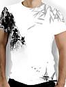 Men\'s T-shirt Graphic Print Short Sleeve Tops Basic Chinoiserie Round Neck White