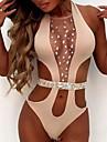 Dámské Jeden kus Oblečení na pláž Plavky Průhledné Lesk Jednobarevné Světlá růžová Bílá Černá Plavky Plavky Večírek Sexy / Plavání / Podprsenka bez vycpávek