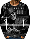 Herre T-shirt Skjorte Grafisk Dødningehoveder Plusstørrelser Trykt mønster Langærmet Daglig Toppe Gade overdrevet Rund hals Regnbue