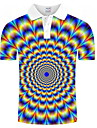 Men\'s Polo Graphic Optical Illusion Print Short Sleeve Daily Tops Rainbow