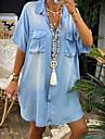 Women\'s Denim Shirt Dress Short Mini Dress Blue Half Sleeve Solid Color Pocket Button Spring Summer Shirt Collar Chic & Modern Hot Casual Oversized 2021 S M L XL XXL 3XL / 100% Cotton / 100% Cotton