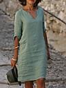 Női Váltó ruha Térdig érő ruha Medence Sárga Arcpír rózsaszín Lóhere Féhosszú Tömör szín Kollázs Ősz Tavasz V-alakú Alkalmi 2021 S M L XL XXL 3XL 4XL 5XL