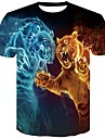 Men\'s T-shirt Graphic Animal Short Sleeve Tops Round Neck Black Blue Red