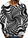 Men\'s T shirt Graphic Optical Illusion Plus Size Print Long Sleeve Daily Tops Streetwear Exaggerated Rainbow